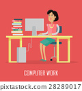 Computer Work Concept Illustration In Flat Design. 28289017