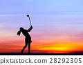 高尔夫球手 女人 侧影 28292305