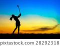 高尔夫球手 女人 侧影 28292318