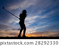 高尔夫球手 女人 侧影 28292330