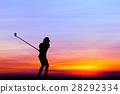 高尔夫球手 女人 侧影 28292334