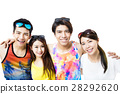 happy young group enjoy summer vacation 28292620