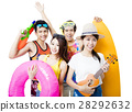 happy young Group  holding beach accessories 28292632