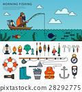 Man fishing flat line vector 28292775