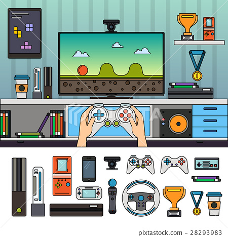Gamer room with gadgets 28293983