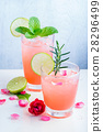 Refreshing summer drink with Strawberry in glasses 28296499
