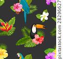 background toucan hibiscus 28296627