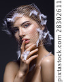 Beautiful girl in veil with feathers 28302611