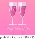 Two glasses of champagne for Saint Valentines day 28302935