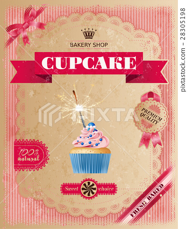 Poster of confectionery bakery with cupcakes 28305198
