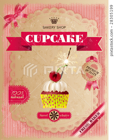Poster of confectionery bakery with cupcakes 28305199