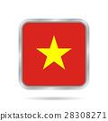 flag of Vietnam, shiny metallic gray square button 28308271