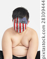 Smile cute fat boy with American flag on his face 28309444