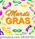 Background with Mardi Gras Mask 28309765