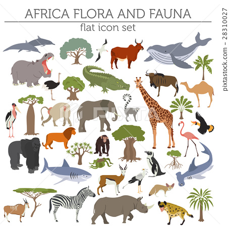 Flat Africa flora and fauna map constructor  28310027