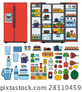Refrigerator with products flat line vector 28310459