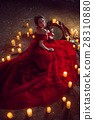 Beautiful lady with candles 28310880