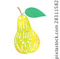 Pear with the phrase natural vegan. 28311582