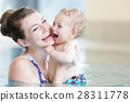 Mother and her newborn child at swimming  28311778