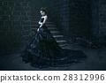 Attractive woman in black dress 28312996