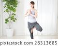 年輕二十多歲瑜伽瑜伽在明亮的房間裡 28313685