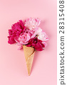 peony flowers in the waffle cone 28315408