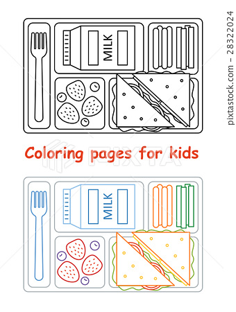 Coloring Pages For Kids With Lunch Tray Stock Illustration 28322024 Pixta