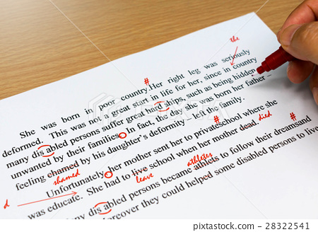 proofreading sheet on table 28322541