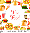 Fast food meal, drinks, dessert and snacks poster 28323463