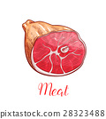 Ham meat isolated sketch with smoked pork leg 28323488