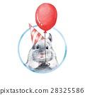 Chinchilla 1. Watercolor birthday card 28325586