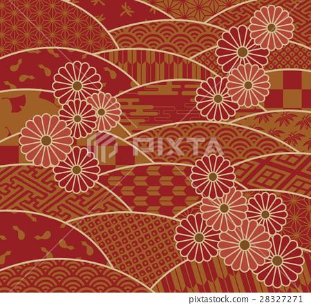 Japanese wave pattern and chrysanthemum flower 28327271