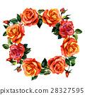 Wildflower rose flower wreath in a watercolor 28327595