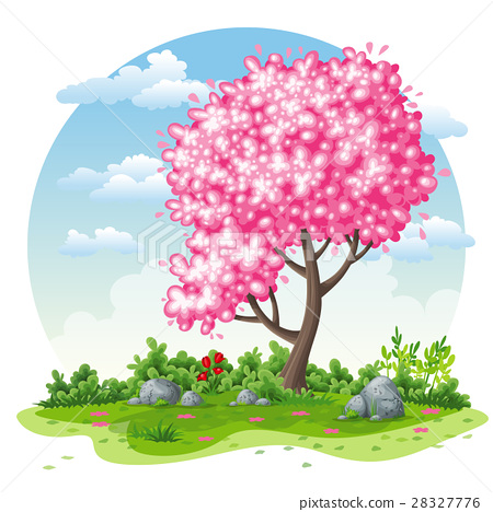 Spring nature cartoon background 28327776