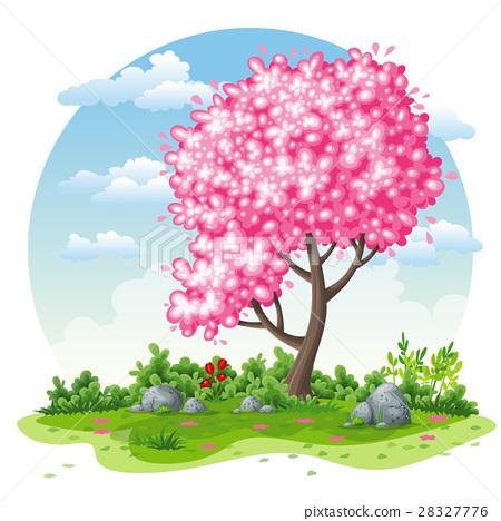 Spring nature cartoon background 28327776