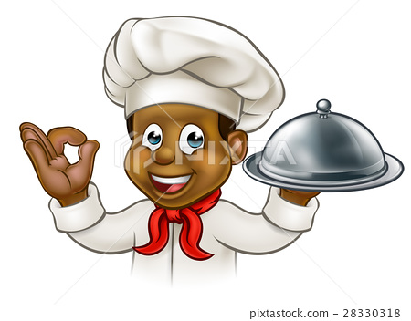Cartoon Black Chef Holding Plate or Platter 28330318