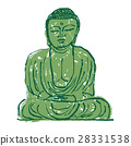 镰仓大佛水彩画手绘水墨画 28331538