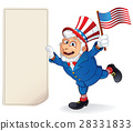 Cartoon Uncle Sam Holding Blank Paper Bill. Vector 28331833