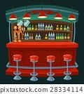 Cartoon illustration the interior of the pub 28334114