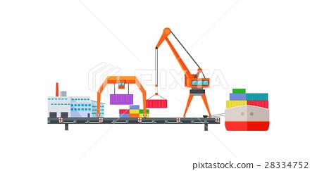 Escalator Delivers Cargo on Ship. Logistics 28334752