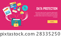 Data Protection Video Web Banner in Flat Style 28335250