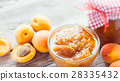 apricot fruits and jar of jam on table 28335432