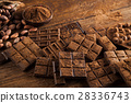 Chocolate bar, candy sweet, dessert food on wooden 28336743
