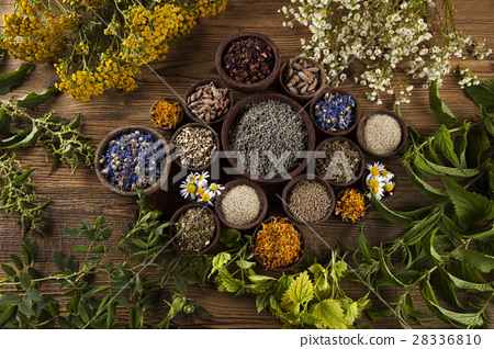 Alternative medicine, dried herbs and mortar 28336810