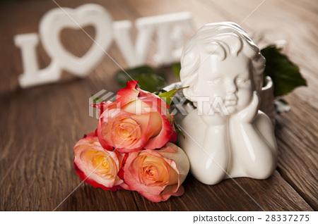 Angel, Happy Valentine's Day, heart background 28337275