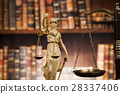 Antique statue of justice, law, books background 28337406