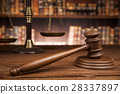 Law and justice concept, Brown wooden background 28337897