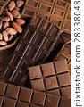 Dark homemade chocolate bars and cocoa pod  28338048