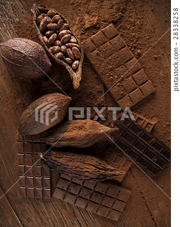 Chocolate bar, candy sweet, cacao beans and powder 28338258