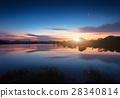 Mountain lake with moonrise at night. landscape 28340814